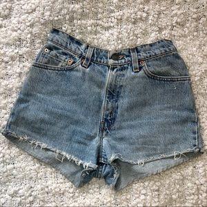 Levi's 512 High Waisted Light Wash Jean Shorts